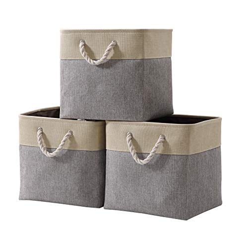 DECOMOMO Foldable Storage Bin [3-Pack] Collapsible Sturdy Cationic Fabric Storage Basket Cube W/Handles for Organizing Shelf Nursery Home Closet (Grey and Beige, Cube - 13 x 13 x 13)