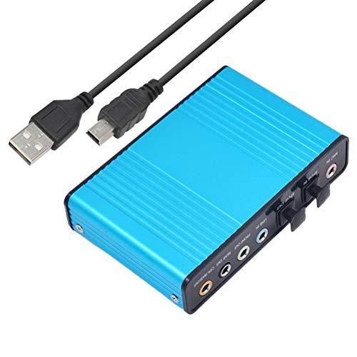 SUPVOX Tarjeta de sonido USB Tarjeta de sonido de fibra óptica profesional USB 5.1 7.1 Pista de sonido Reproducción de audio dúplex completo Grabación Tarjeta silenciosa para PC (Azul)