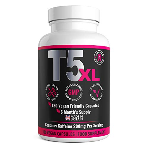T5 XL Fat Burner 180 Capsules   6 Months Supply   Weight Loss Fat Burner Diet Pills   UK Made by GirlyFuels for Women & Men   Vegan and Vegetarian Friendly