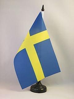 Zweden Tafelvlag 14x21 cm - Zweedse Bureaivlag 21 x 14 cm - Zwarte plastic stok en voet - AZ FLAG