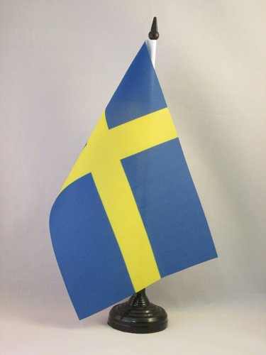 AZ FLAG TISCHFLAGGE SCHWEDEN 21x14cm - SCHWEDISCHE TISCHFAHNE 14 x 21 cm - flaggen