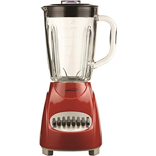 Brentwood Blender with Glass Jar, 12-Speed + Pulse, Red
