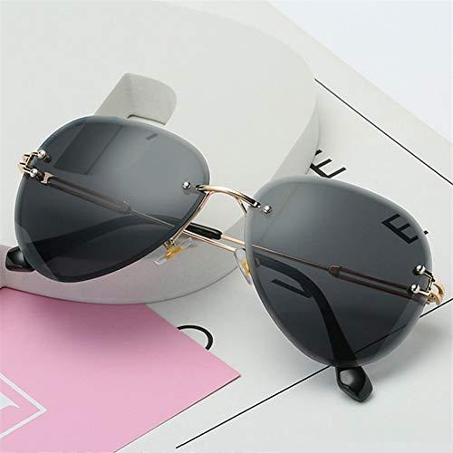 Frauen Sonnenbrillen Brillen, Randlose Sonnenbrille Frauen Sonnenbrille Metall Farme Gradient Shades Schneidlinse Damenbrille Uv400 Sonnenbrille Für Outdoor-Sport, Fahren, Strand, Dating, Partys
