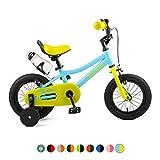 "Retrospec Koda Kids Bike with Training Wheels, 12"" 1.5-4yrs, Blue & Lime"