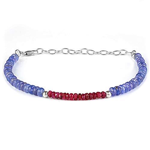 Pulsera de rubí de tanzanita, joyería de rubí de tanzanita, pulsera de rubí natural, pulsera de tanzanita, piedra natal de diciembre de julio