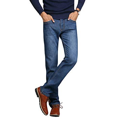 Herren Winter Thermo Jeans Fleeced Gefüttert Denim Lange Hosen Lässig Warme Hosen Für Büro Reise Neu