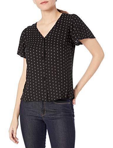 Amazon Brand - Goodthreads Women's Fluid Twill Covered-Button Short-Sleeve Shirt, Black Medallion Print, X-Large