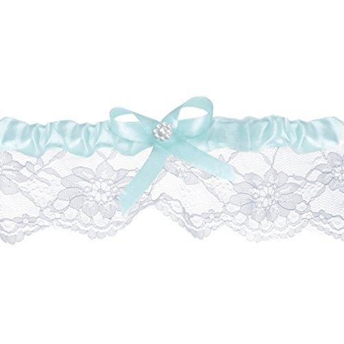 Braut-Strumpfband Spitzenstrumpfband weiß blau mit Satinband-Schleife Hochzeit Strumpf Band. Von Haus der Herzen ®