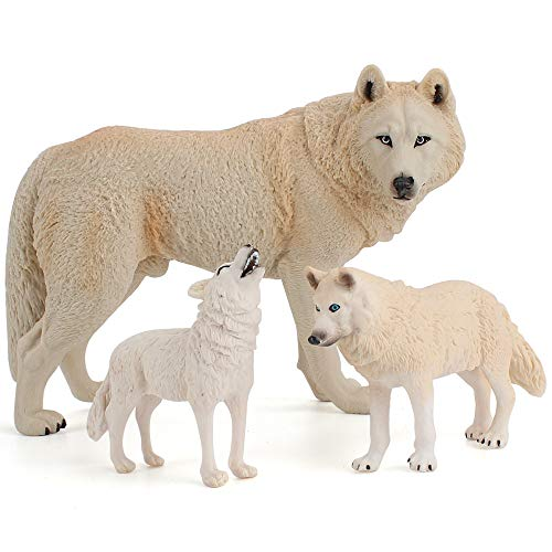 Fantarea 3 PCS Realistic Wild Life Jungle Zoo White Animal Wolf Figures Party Favors Supplies Cake Toppers Collection Development Set Toys for 5 6 7 8 Years Old Boys Girls Kid Toddlers