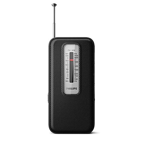 Philips Pocket Radio, Radio analógica FM MW portátil, Radio portátil, Funciona con Pilas, Adecuada para Interiores y Exteriores, diseño clásico, Negro