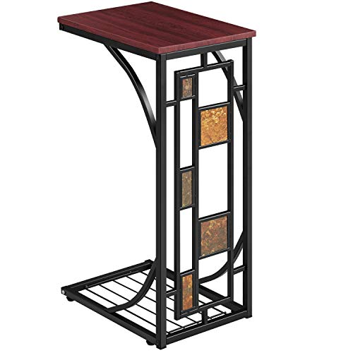 Topeakmart C-Shaped Side Sofa Snack Table Coffee Tray End Table Living Room Furniture