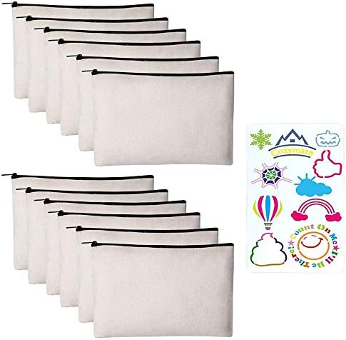 12 Pack Canvas Pencil Pouch DIY Craft Blank Makeup Bags with Zipper Bulk Multipurpose Cosmetic product image