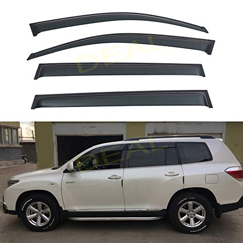 DEAL AUTO ELECTRIC PARTS 4-Piece Set JDM Style Outside Mount Tape On/Clip On Type Smoke Tinted Sun/Rain Guard Vent Window Visors Compatible with 2008-2013 Highlander