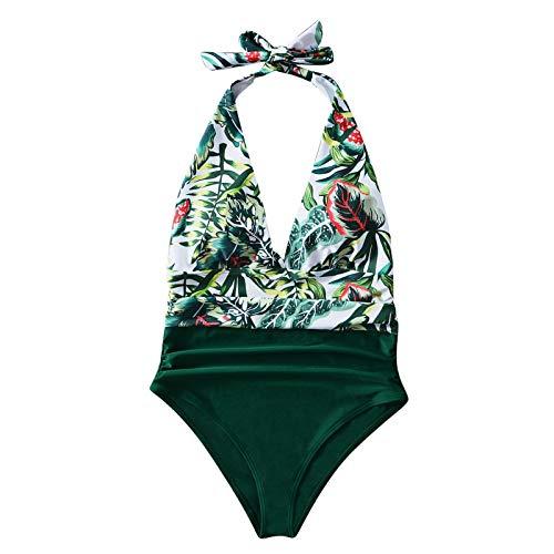 Zonary Damenmode Sexy Leaf Print V-Ausschnitt Einteiliger Badeanzug Bikini LD2104 Damenmode sexy Blattdruck V-Ausschnitt hohe Taille einteiliger Badeanzug Bikini weiß L.