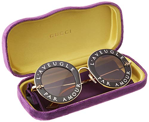 Fashion Shopping Sunglasses Gucci GG 0113 S- 001 BLACK / GREY GOLD