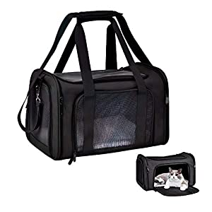 GLANT Cat Carriers Dog Carrier Pet Carrier for Small Medium Cats Dogs Puppies of 15 Lbs, TSA Airline Approved Small Dog Carrier Soft Sided, Collapsible Puppy Carrier – Black Grey
