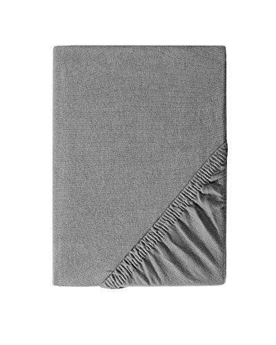 myHomery Spannbettlaken Boxspringbett 190g/m² Premium 97% Baumwolle / 3% Elasthan - Spannbetttuch mit Steghöhe bis 40cm - Silber | 180x200 bis 200x220 cm Premium: 190g/m² Ben