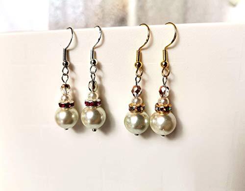 Pendientes de perlas blancas y Swarovski. Pendientes vintage para mujer. Pendientes colgantes clásicos. Regalo San Valentín