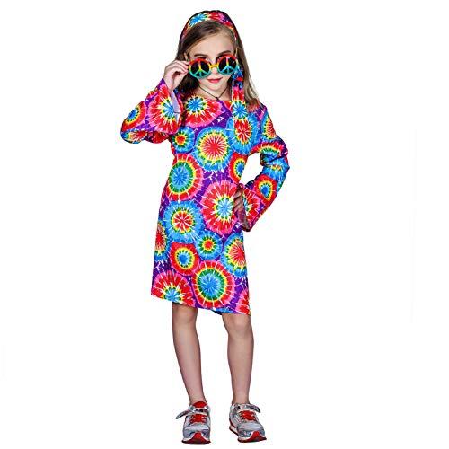 SEA HARE Mädchen Retro 60er 70er Hippie Kostüm (M :7-9 Jahre)