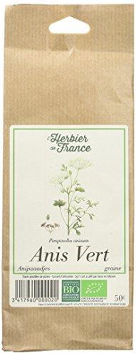 L'Herbier de France Anis Vert graines Bio Sachet Kraft 50 g - Lot de 3