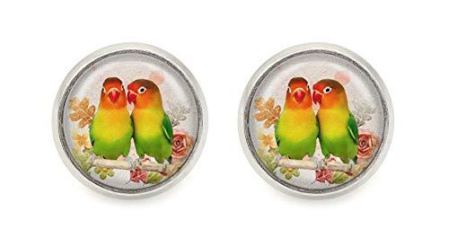 Wellensittich Vogel Motiv Ohrstecker Cabochon Damen Ohrringe silberfarben