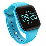 Kids Led Pedometer Watch, Digital Steps Tracker, Non-Bluetooth, Vibrating Alarm Clock, Stopwatch, Great Gift for Children Teens Girls Boys (Square- Sky Blue)