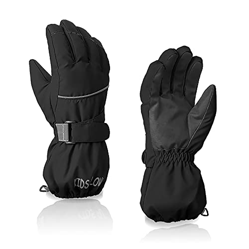 Kids Waterproof Winter Gloves Warm Snow Gloves Boys Girls Ski Gloves Toddler Mittens Windproof Black M