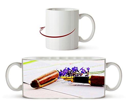 Elegante efecto de pluma estilográfica: dibujo como taza de 300 ml, de cerámica blanca, ideal como regalo o su nueva taza favorita.