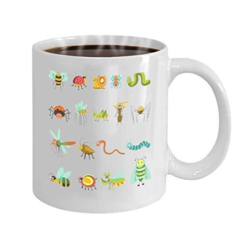 Lustige Kaffeetasse - 11 Unzen Keramik weiße Kaffeetasse Lustige Cartoon Insekten Käfer Isolierte Symbole Set Hummel Biene Schmetterling Libelle Schlange Spinne Charakter