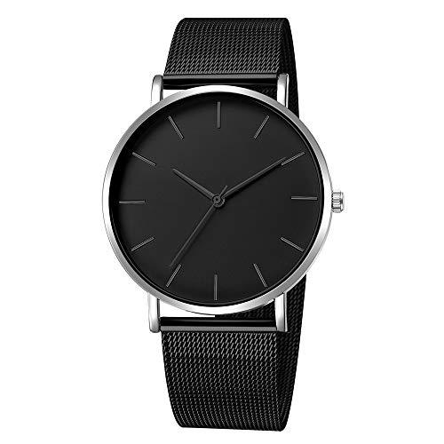 Armbanduhr männer Liusdh Uhren Antike französische goldene Zeigeruhr mit mattem Zifferblatt und schwarzem Edelstahlgürtel uhr(M,Einheitsgröße)
