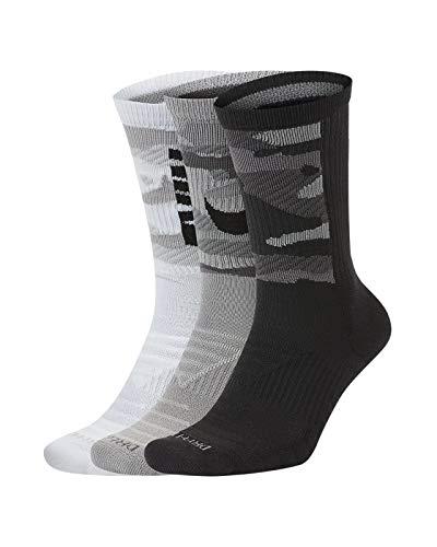Nike Everyday Max Cushion Crew - Calcetines de esquí (3 unidades) blanco/gris/negro M
