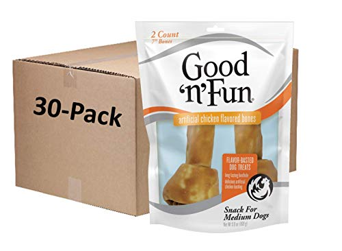 Good'n'Fun Chicken Flavor Rawhide Bones for Dogs, Dog Chew, 7 Inch, 2 Ct, Pack of 30