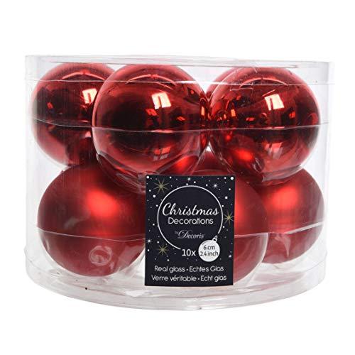 Decoris Weihnachtskugel aus Glas, Rot