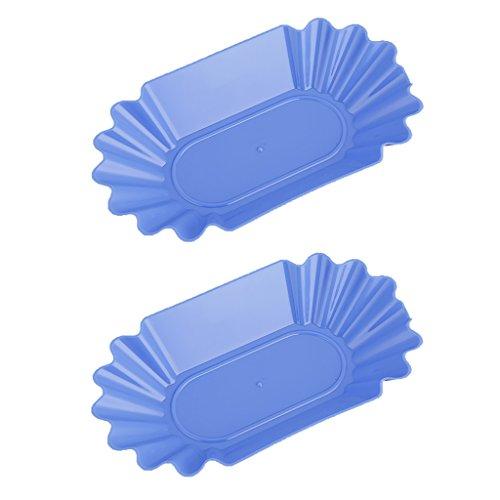 MagiDeal 2pcs Bac à Grains Ovales Plateaux en Plastique Plaque Plat Assiettes Bleu