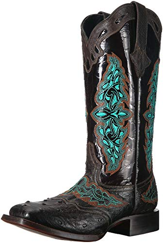 """Lucchese Bootmaker Womens Amberlyn Ostrich Embroidery Square Toe Western Cowboy Boots Mid Calf Low Heel 1-2"""" - Brown - Size 8.5 B"""