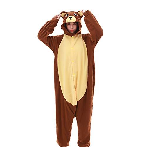 WANGLXPA Confortable Adulte Unisexe Animal Costume Cosplay Ours Brun Kigurumi Pyjama Onesie...