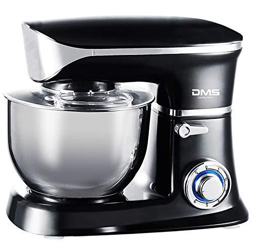 Küchenmaschine Rührmaschine Knetmaschine Teigkneter Edelstahlschüssel Spritzschutz 6-stufige Geschwindigkeit 6 L, 1900 Watt max. DMS® (Schwarz)