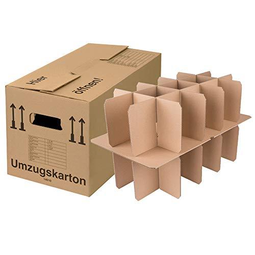 BB-Verpackungen Gläserkartons 15-30 Fächer   5 Stück   Flaschenkarton 2-wellig mit Gläsereinsatz & Schmetterlingsboden   40KG Tragkraft   Umzugskarton für Gläser, Flaschen & Tassen - Sets zwischen 5 und 150 Stück