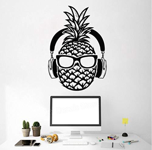 Creativo piña DJ vinilo pared calcomanía auriculares gafas de sol decoración para adolescentes pegatinas Mural decoración del hogar dormitorio sala de juegos 42X60 cm