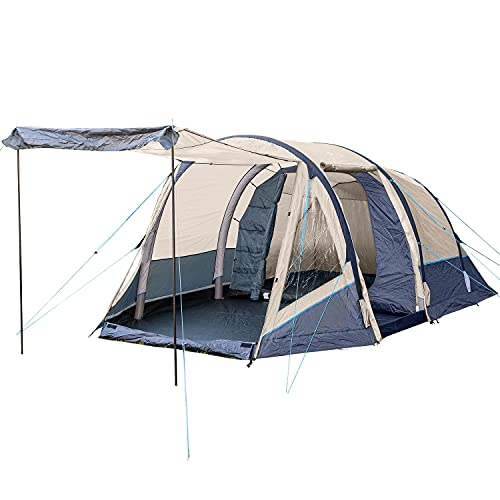 Skandika Aufblasbares Zelt Folldal 4 Air-Rise für 4 Personen | Zelt mit eingenähtem Zeltboden, wasserdicht, Schlafkabine mit Moskitonetz, 4000 mm Wassersäule, inkl. Pumpe | Luftzelt, Campingzelt