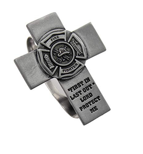 Elysian Gift Shop Silver Metal 2' Cross Visor Clip Travel Protection Fire Fighter Car Accessory Includes St.Florian Prayer holy Card (Fireman)