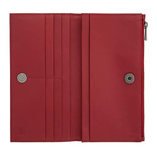 DUDU Portafoglio Donna Grande in Vera Pelle con Bottone Magnetico e Zip Design Sottile Porta Carte Rosso