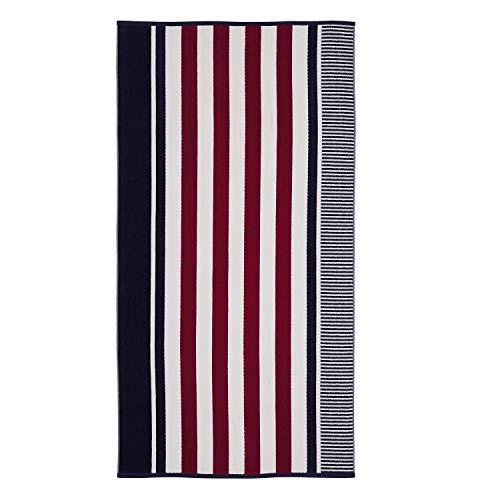 SUPERIOR Cotton Checkered Textured (Set of 2) Oversized Beach Towel - Navy Blue