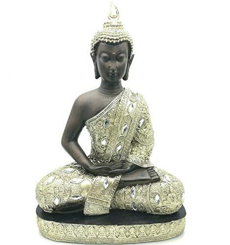 Buddha Ornament Sitting Statue Meditating in Stunning Silver Finish (Large)