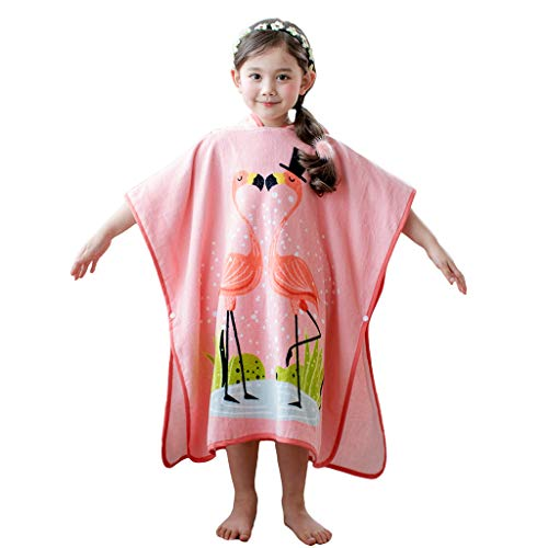 Gogokids Kinder Handtuch, Mädchen Kapuzenhandtuch Bademantel Badetuch Perfekt für Zuhause, Strand und Schwimmbad, 100% Baumwolle, Flamingo Rosa 140 x 70cm
