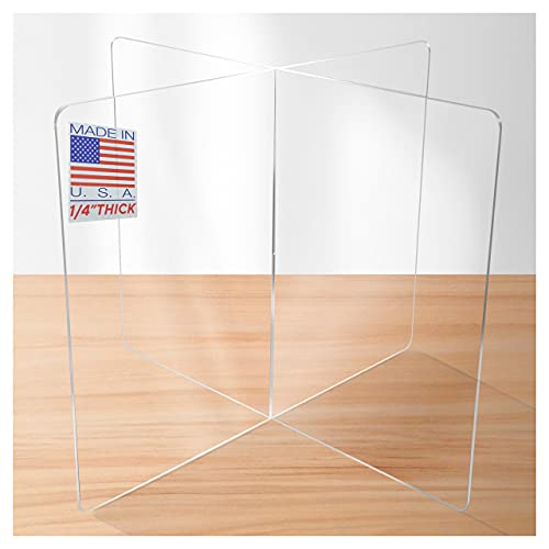Sneeze Guard Table Divider by SPEEDYORDERS - 4 Persons Clear Acrylic Desk Dividers for Students School Restaurant - For Round/Square Tables - 1/4' Thick Acrylic 31.5'W x 31.5'L x 23.5'H