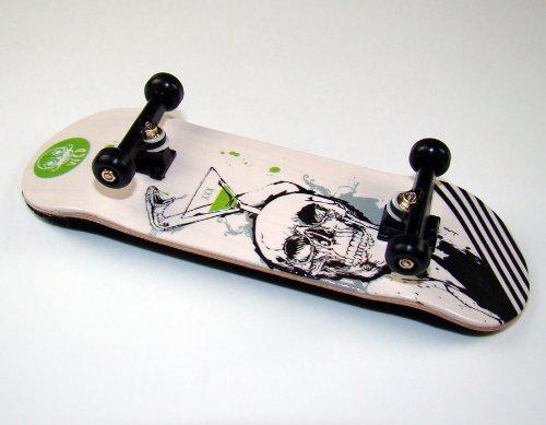 "KOMPLETT Fingerskateboard World-Creative #4 \""XXX Deck + Achsen SCHWARZ + FINAL-Rotation PU Wheels SCHWARZ von FREEFINGERS® Handmade Wood Fingerboard"