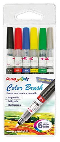Pentel GFL Colour Brush pennello inchiostro base acqua, 6 pezzi colori assortiti 'basic'