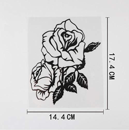 GenericBrands 3 Piezas Pegatina para Coche 14,4 CM × 17,4 CM Precioso Doble Rosa Hojas calcomanía Vinilo Coche Pegatina Negro