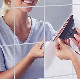 Espejos decorativos de pared, 18cs DIY Etiqueta engomada de la pared del espejo Azulejos mosaicos autoadhesivos PET Espejo Decoración Pegatinas Decoración hogareña Tratamientos de Pared 5,9 x 5,9 inch